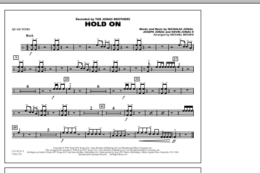 Hold On - Quad Toms (Marching Band)