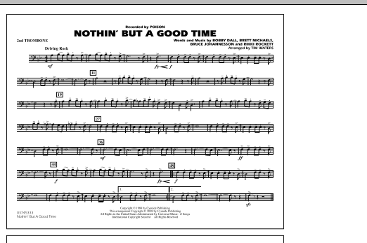 Nothin' But A Good Time - 2nd Trombone (Marching Band)