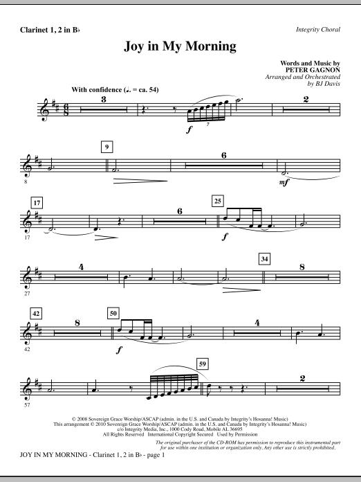 Joy In My Morning - Clarinet 1 & 2 (Choir Instrumental Pak)