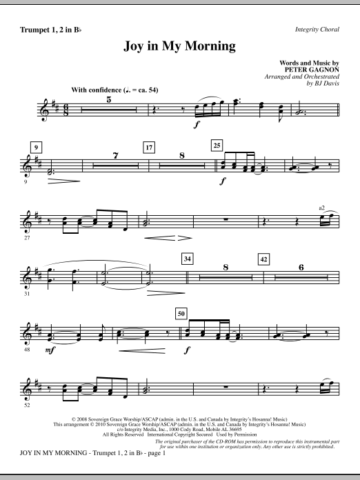 Joy In My Morning - Bb Trumpet 1,2 Sheet Music