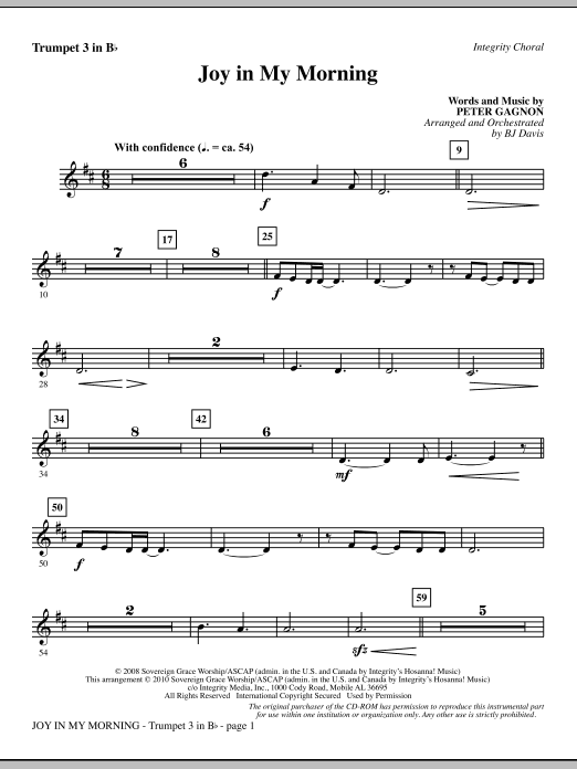 Joy In My Morning - Bb Trumpet 3 Sheet Music