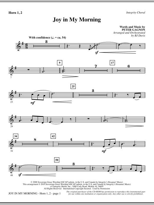 Joy In My Morning - F Horn 1,2 Sheet Music