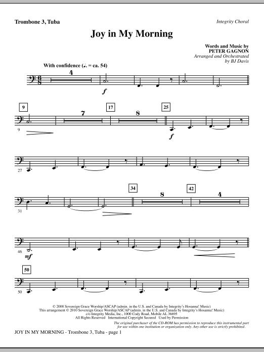 Joy In My Morning - Trombone 3/Tuba (Choir Instrumental Pak)