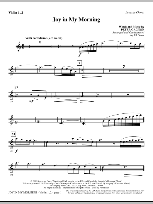 Joy In My Morning - Violin 1, 2 Sheet Music
