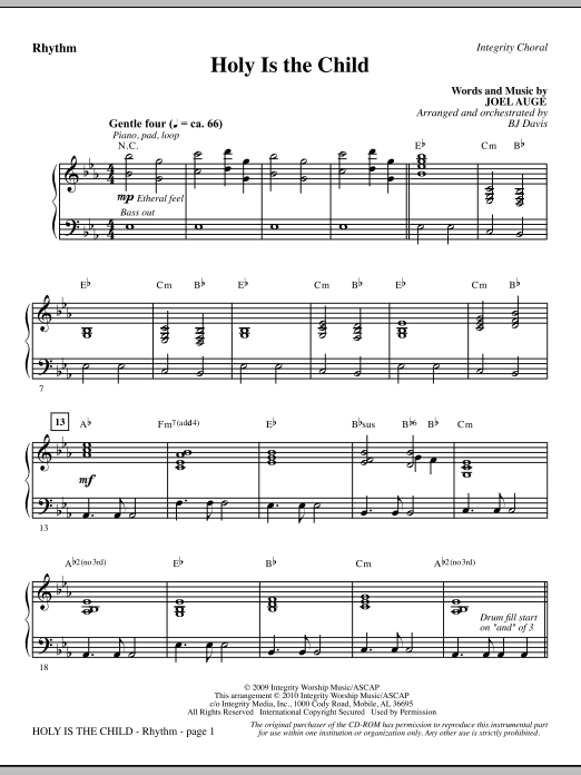 Holy Is The Child - Rhythm Sheet Music