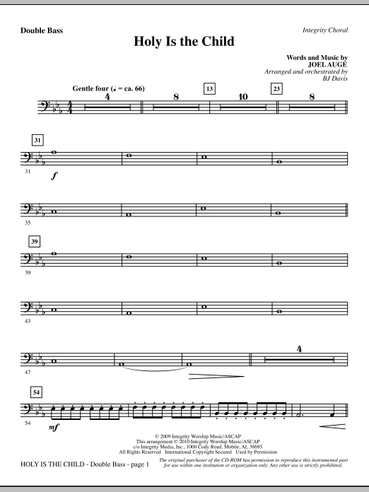 Holy Is The Child - Double Bass Sheet Music