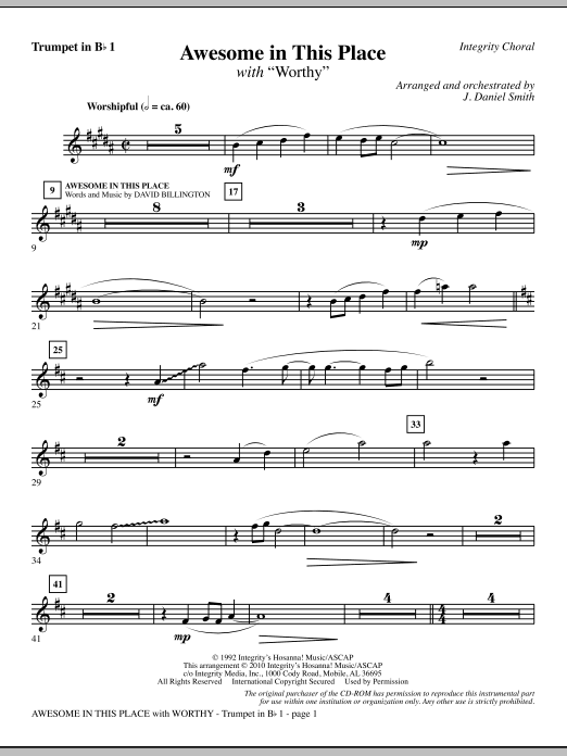Awesome In This Place (with Worthy) - Trumpet 1 Sheet Music
