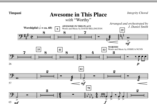 Awesome In This Place (with Worthy) - Timpani Sheet Music