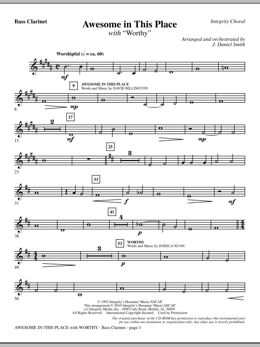 Awesome In This Place (with Worthy) - Bb Bass Clarinet Sheet Music