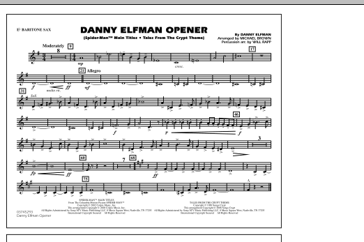 Danny Elfman Opener - Eb Baritone Sax (Marching Band)