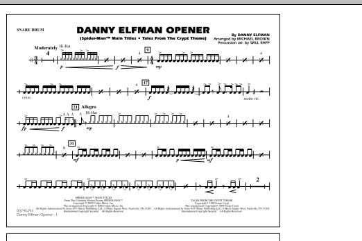 Danny Elfman Opener - Snare Drum (Marching Band)