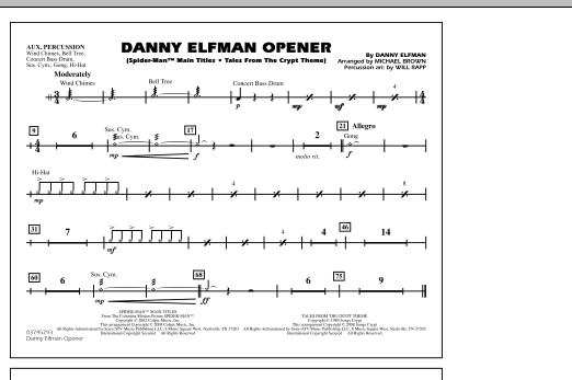 Danny Elfman Opener - Aux Percussion (Marching Band)