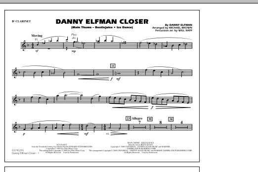 Danny Elfman Closer - Bb Clarinet (Marching Band)