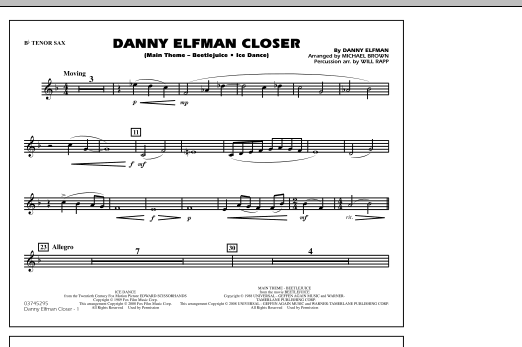 Danny Elfman Closer - Bb Tenor Sax (Marching Band)