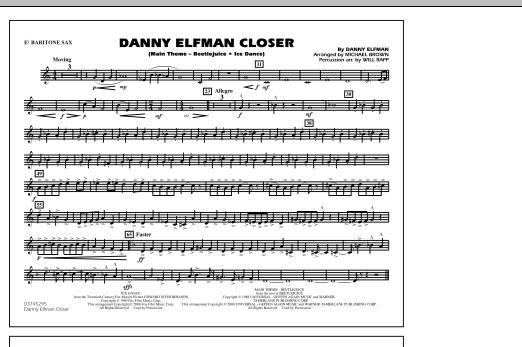 Danny Elfman Closer - Eb Baritone Sax (Marching Band)