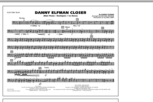 Danny Elfman Closer - Electric Bass (Marching Band)
