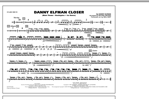 Danny Elfman Closer - Snare Drum (Marching Band)