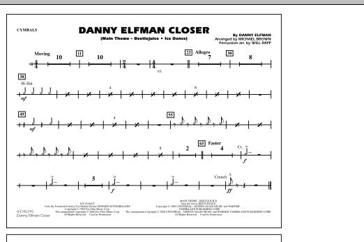 Danny Elfman Closer - Cymbals (Marching Band)