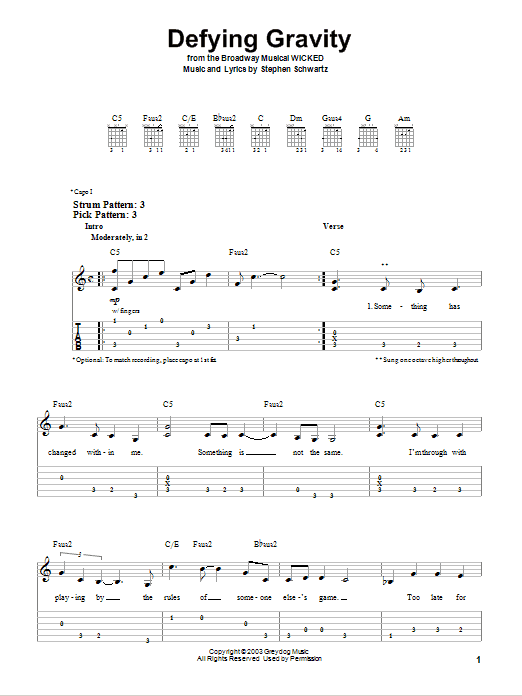 Defying Gravity | Stephen Schwartz | Easy Guitar Tab