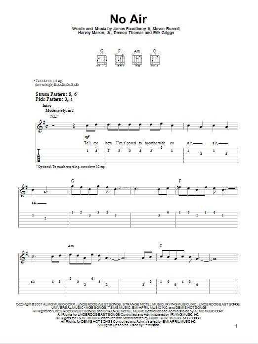 Tablature guitare No Air de Jordin Sparks with Chris Brown - Tablature guitare facile