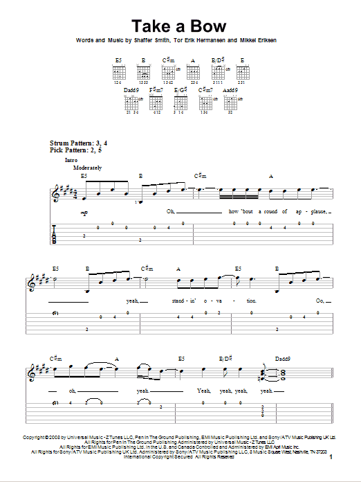 Take A Bow (Easy Guitar Tab)