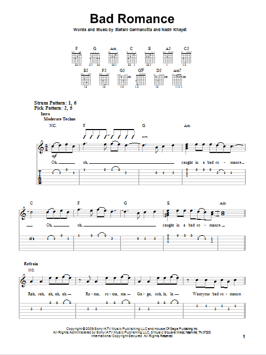 Tablature guitare Bad Romance de Lady Gaga - Tablature guitare facile
