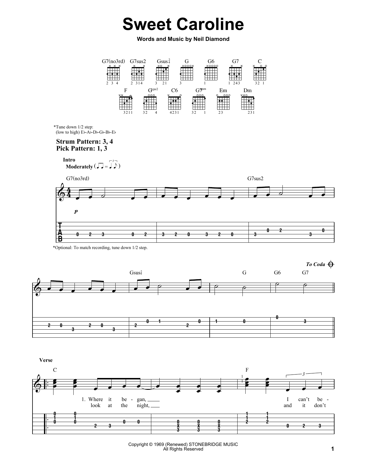 Sweet Caroline By Neil Diamond Easy Guitar Tab Guitar Instructor