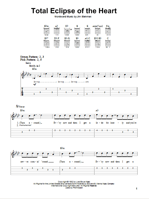 Tablature guitare Total Eclipse Of The Heart de Bonnie Tyler - Tablature guitare facile