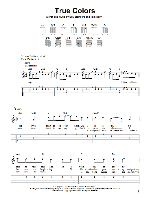 Tablature guitare True Colors de Cyndi Lauper - Tablature guitare facile