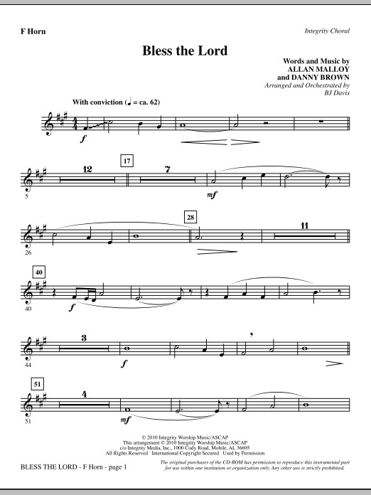 Bless The Lord - F Horn Sheet Music