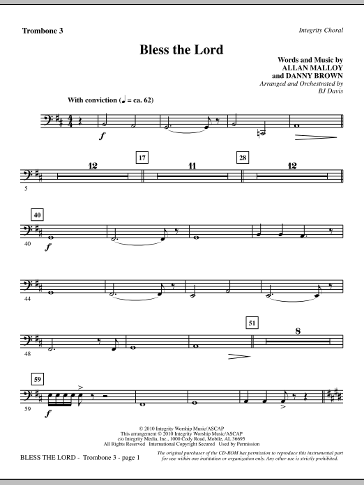 Bless The Lord - Trombone 3 Sheet Music