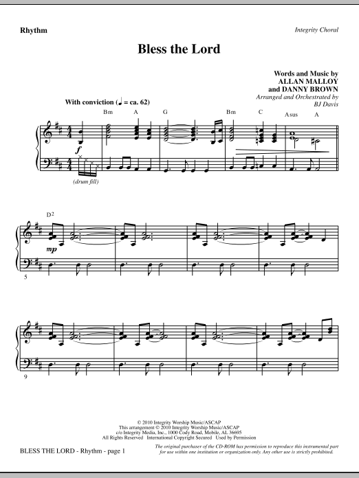 Bless The Lord - Rhythm Sheet Music