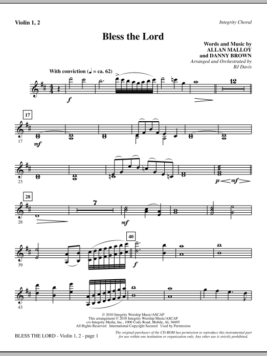 Bless The Lord - Violin 1, 2 Sheet Music