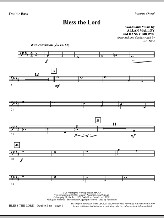 Bless The Lord - Double Bass Sheet Music
