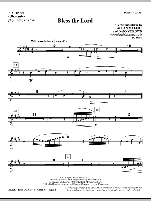 Bless The Lord - Bb Clarinet (sub. Oboe) Sheet Music