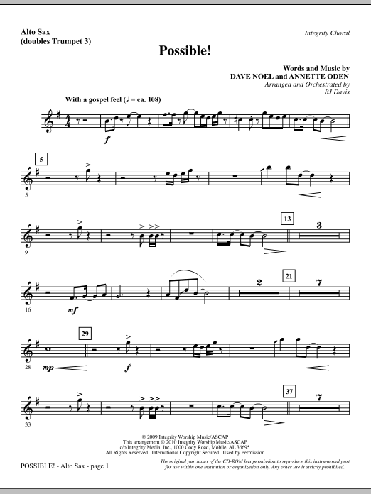 Possible! - Alto Sax (sub. Trumpet 3) (Choir Instrumental Pak)