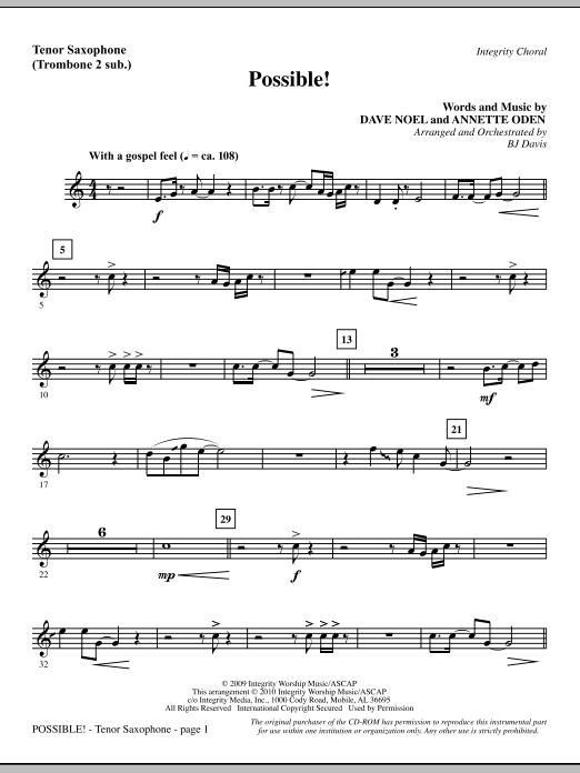 Possible! - Tenor Sax (sub. Tbn 2) (Choir Instrumental Pak)