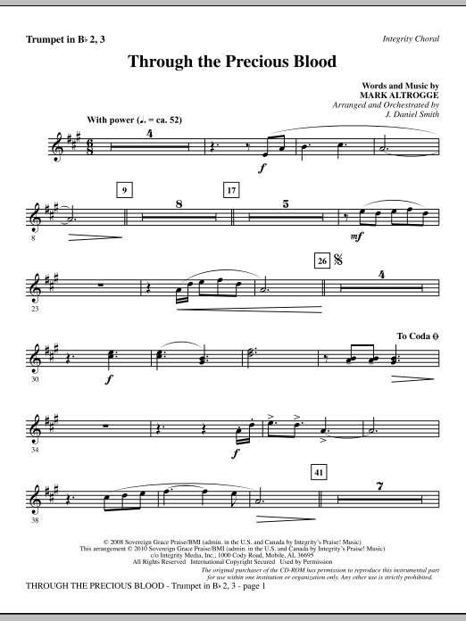 Through The Precious Blood - Trumpet 2 & 3 Sheet Music
