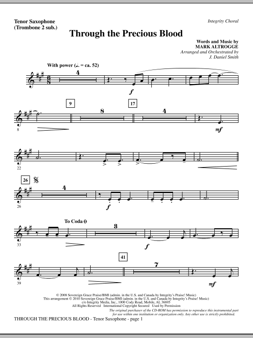 Through The Precious Blood - Tenor Sax (sub. Tbn 2) Sheet Music