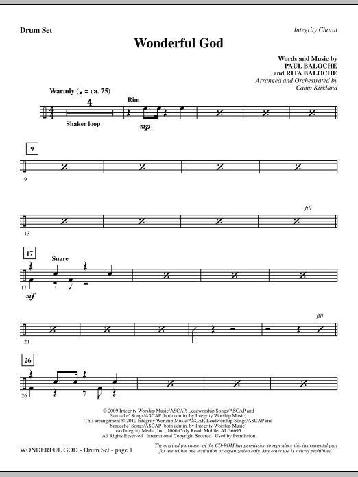 Wonderful God - Drums Sheet Music