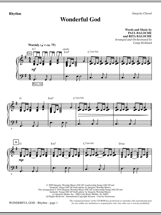 Wonderful God - Rhythm Sheet Music