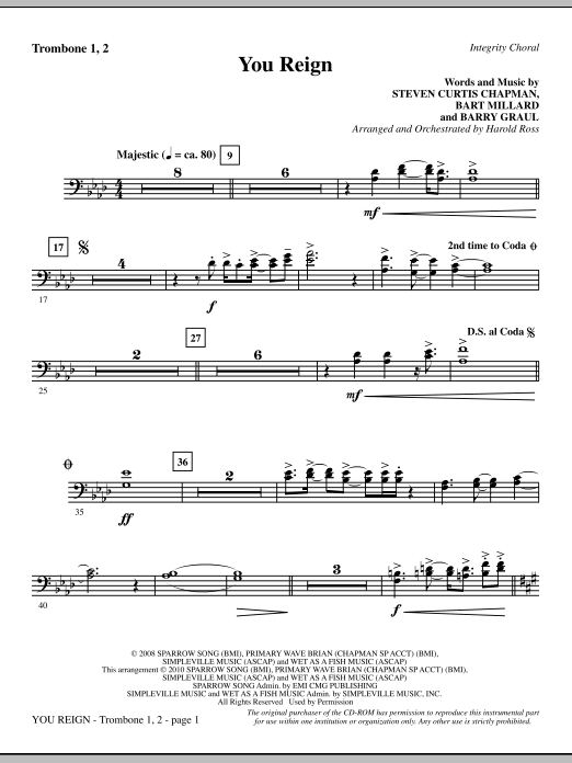 You Reign - Trombone 1 & 2 Sheet Music