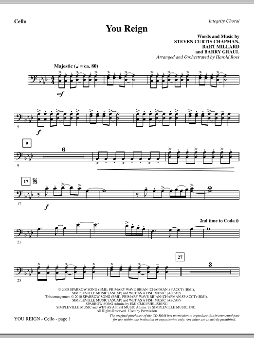 You Reign - Cello Sheet Music