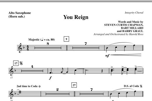 You Reign - Alto Sax (sub. Horn) Sheet Music