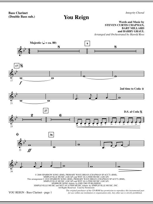 You Reign - Bass Clarinet (sub. dbl bass) Sheet Music