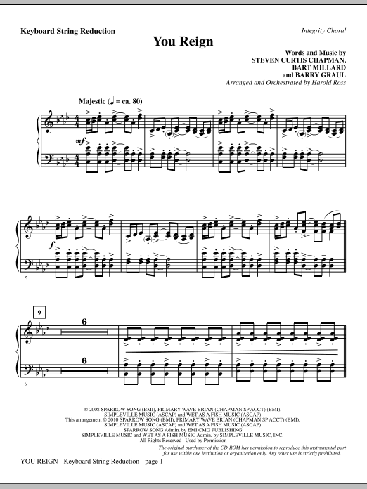 You Reign - Keyboard String Reduction Sheet Music