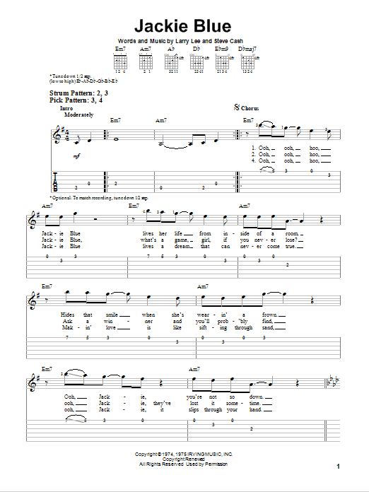 Tablature guitare Jackie Blue de Ozark Mountain Daredevils - Tablature guitare facile