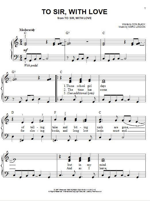 Partition piano To Sir, With Love de Lulu - Piano Facile