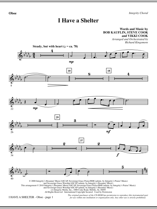 I Have A Shelter - Oboe Sheet Music