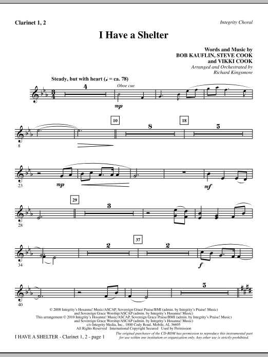 I Have A Shelter - Clarinet 1 & 2 Sheet Music